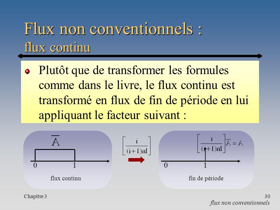 Flux non conventionnels : flux continu