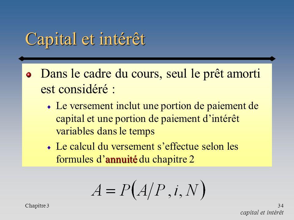 Capital et intérêt Dans le cadre du cours, seul le prêt amorti est considéré :