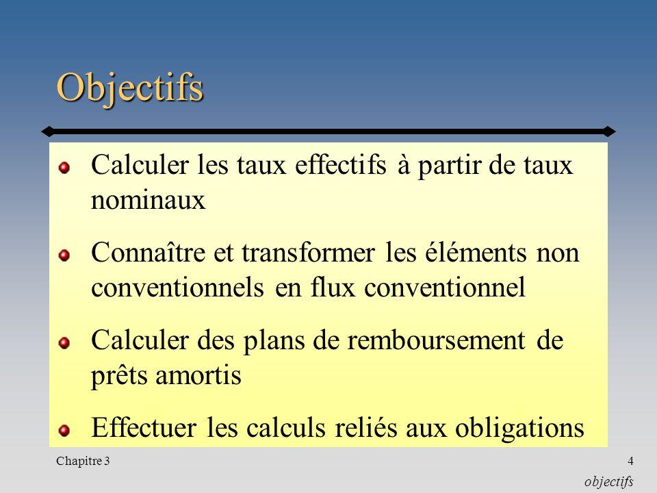 Objectifs Calculer les taux effectifs à partir de taux nominaux