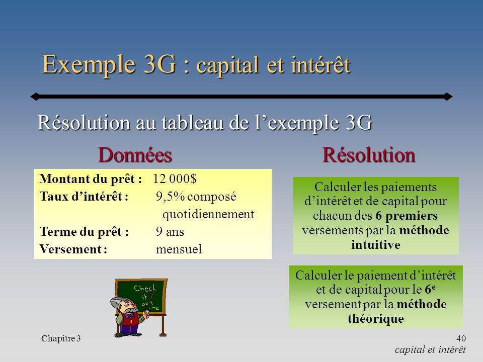 Exemple 3G : capital et intérêt