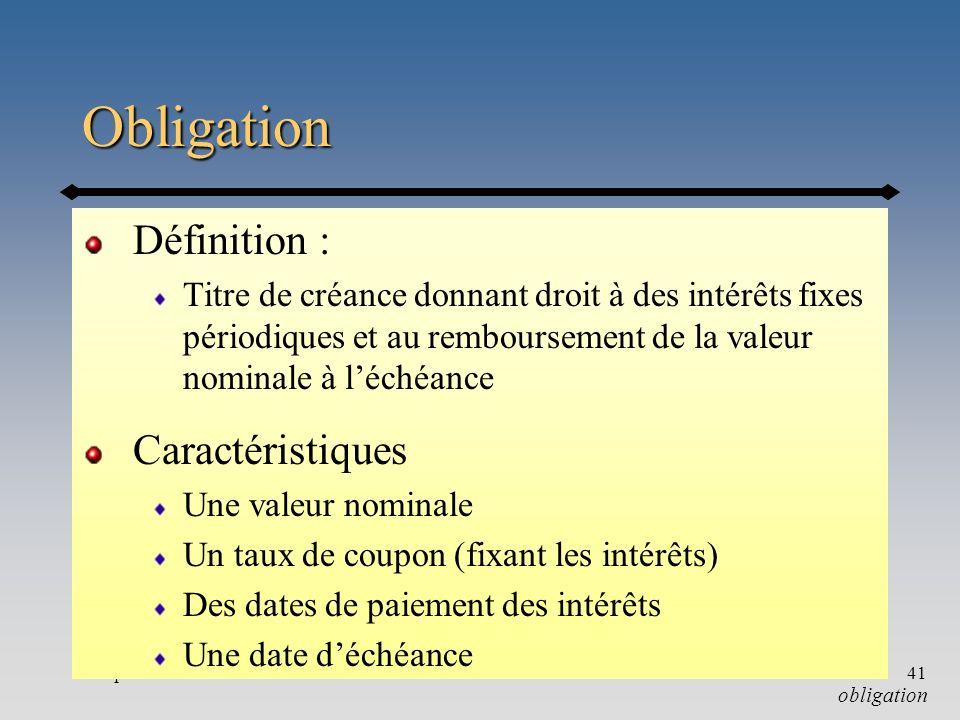 Obligation Définition : Caractéristiques