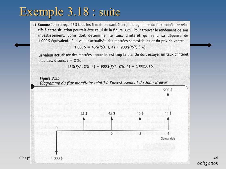 Exemple 3.18 : suite Chapitre 3 obligation