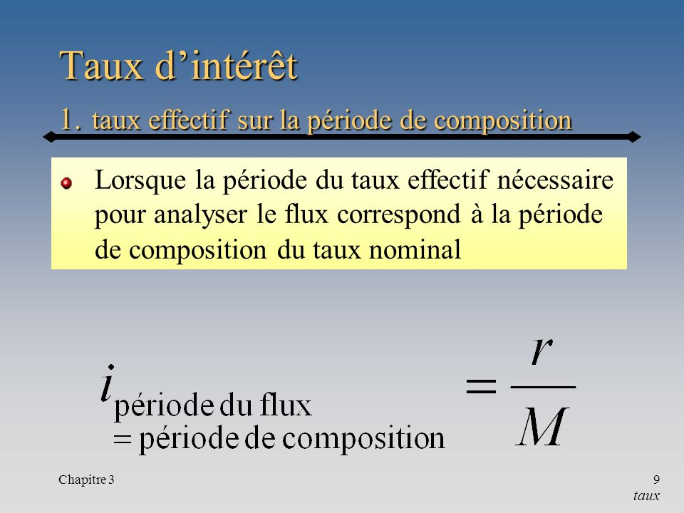Taux d'intérêt 1. taux effectif sur la période de composition