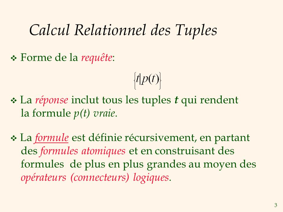 Calcul Relationnel des Tuples