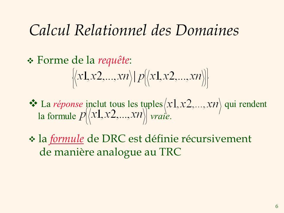 Calcul Relationnel des Domaines