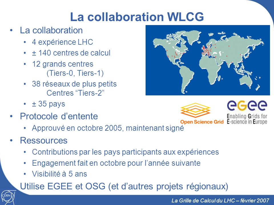 La collaboration WLCG La collaboration Protocole d'entente Ressources