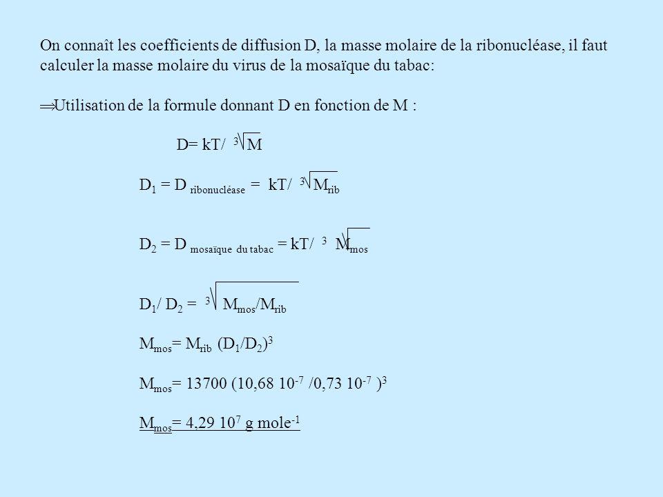 On connaît les coefficients de diffusion D, la masse molaire de la ribonucléase, il faut