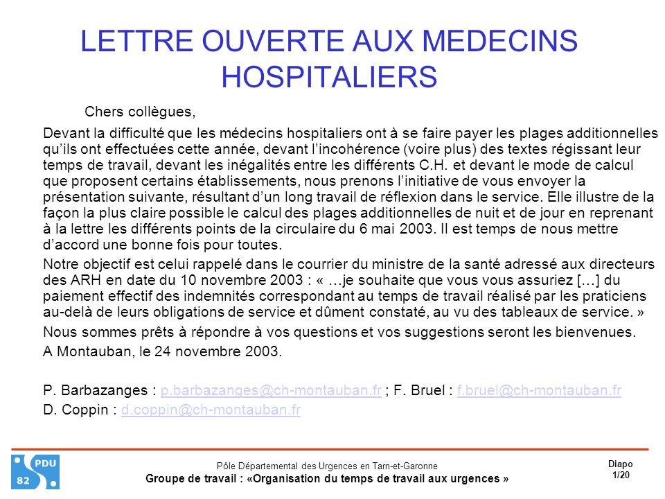 LETTRE OUVERTE AUX MEDECINS HOSPITALIERS