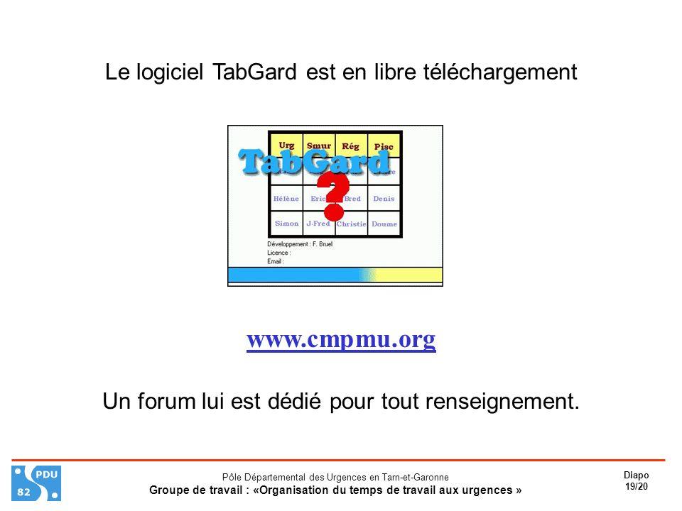 www.cmpmu.org Le logiciel TabGard est en libre téléchargement