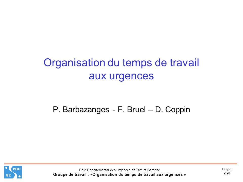 Organisation du temps de travail aux urgences