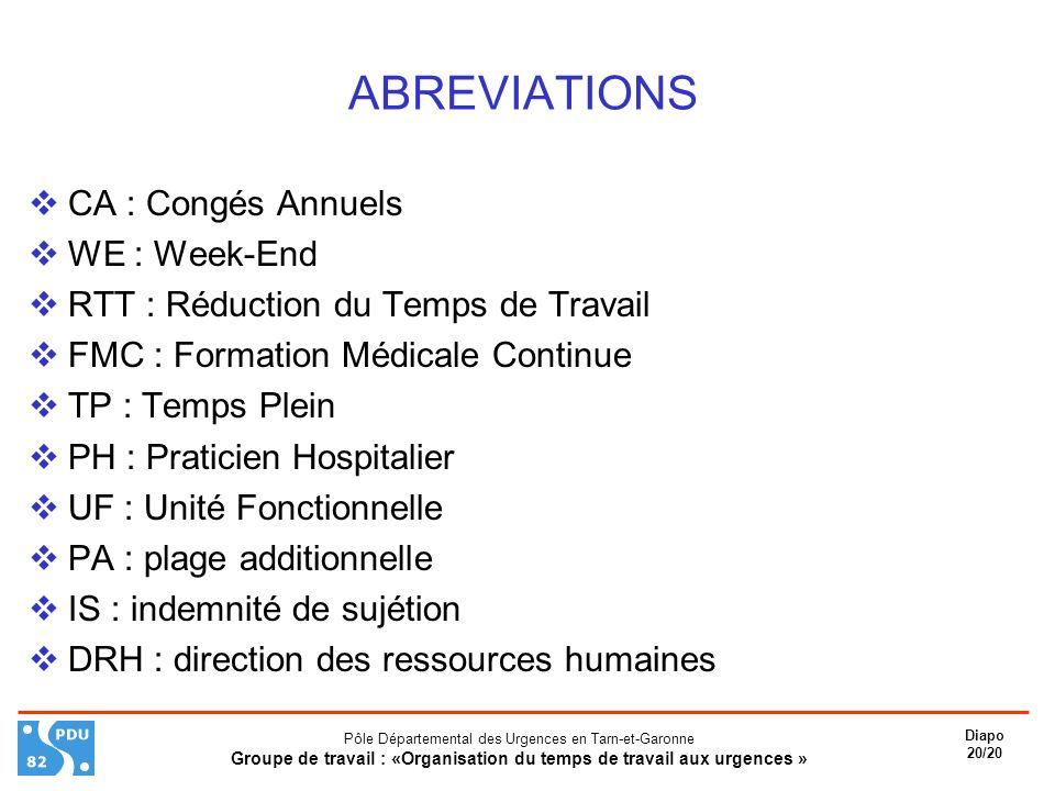 ABREVIATIONS CA : Congés Annuels WE : Week-End