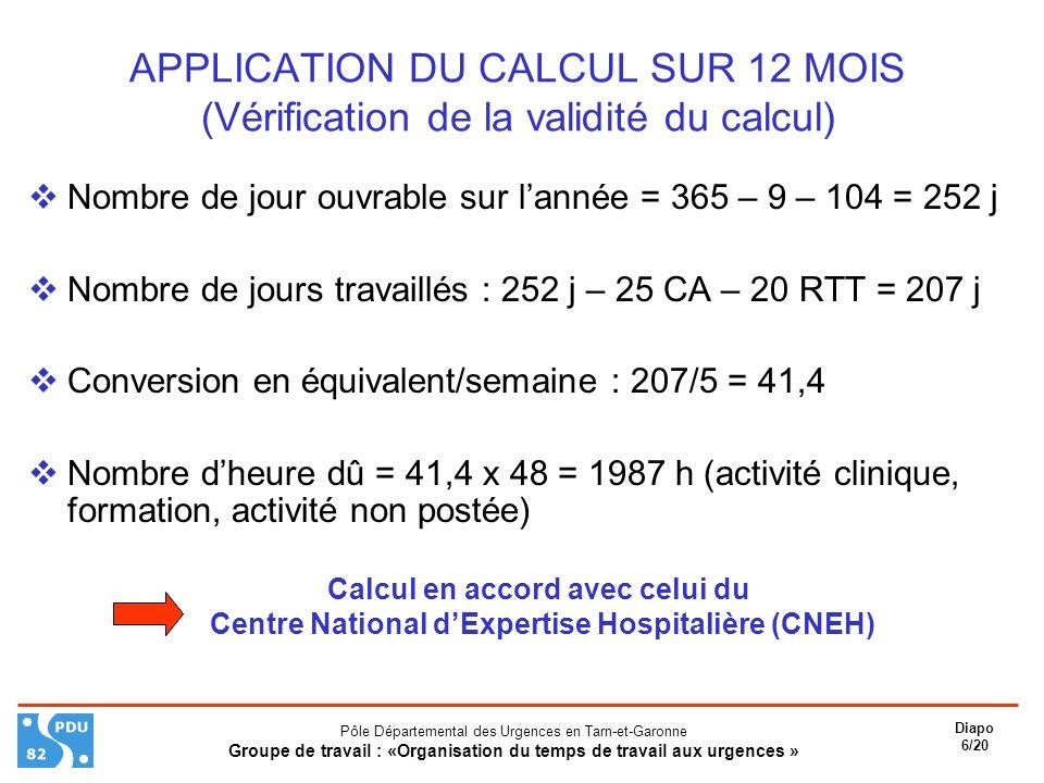 APPLICATION DU CALCUL SUR 12 MOIS (Vérification de la validité du calcul)