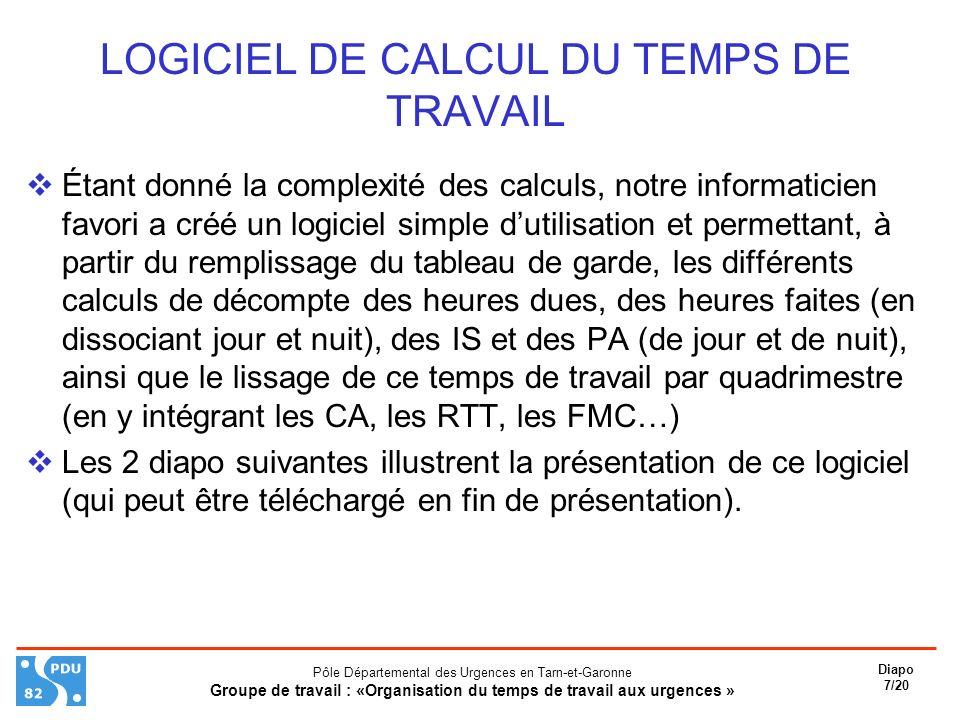 LOGICIEL DE CALCUL DU TEMPS DE TRAVAIL