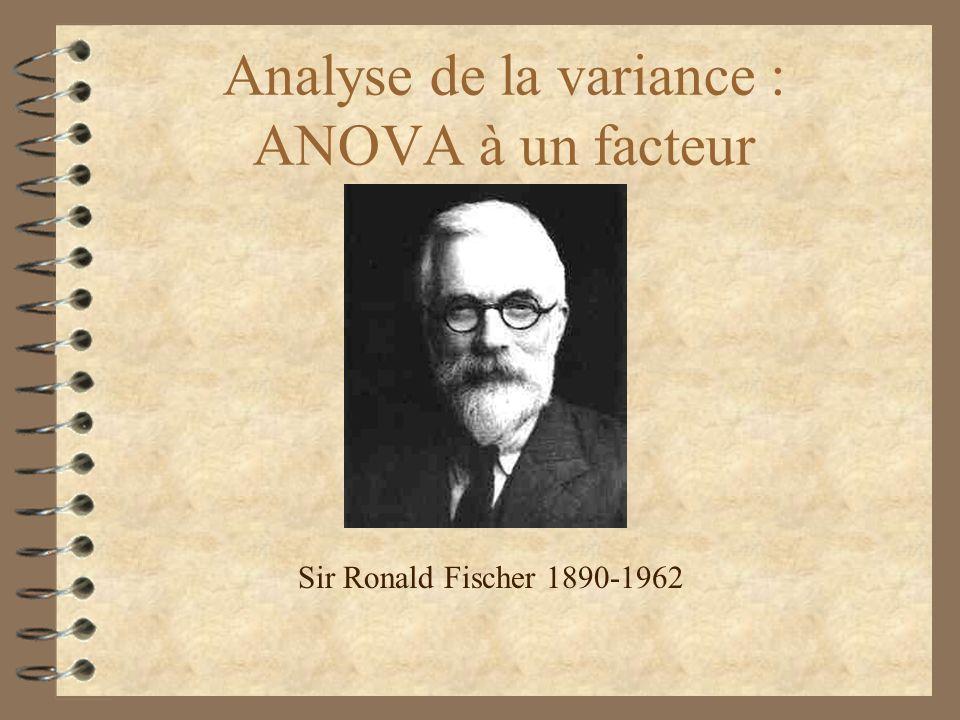 Analyse de la variance : ANOVA à un facteur