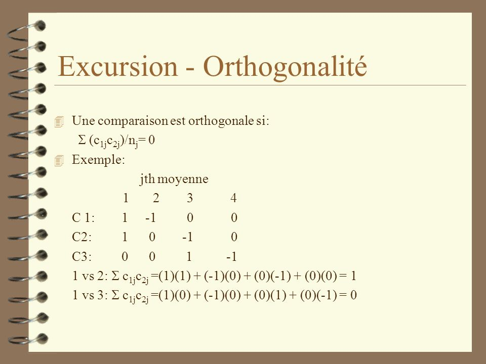 Excursion - Orthogonalité
