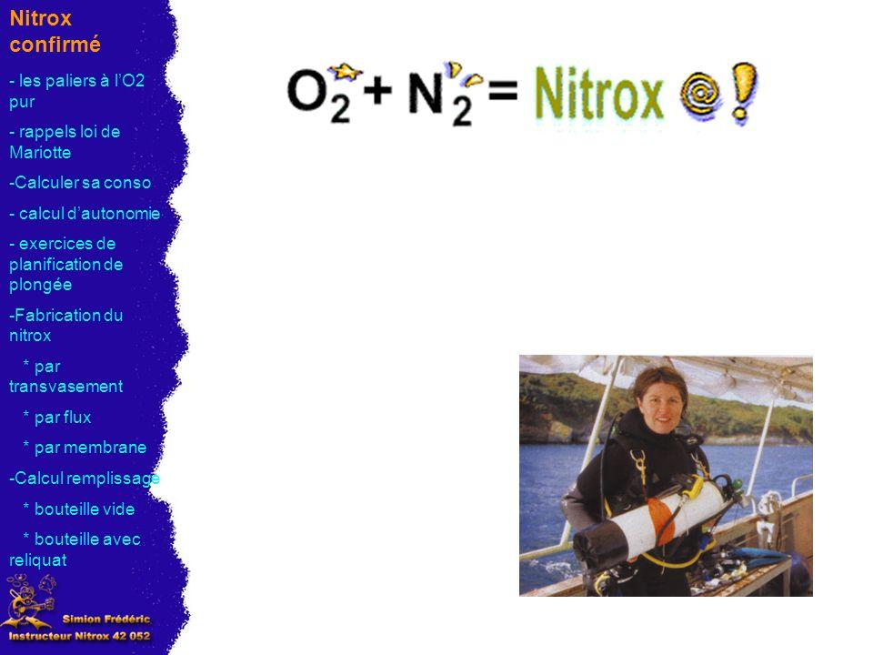 Nitrox confirmé - les paliers à l'O2 pur - rappels loi de Mariotte