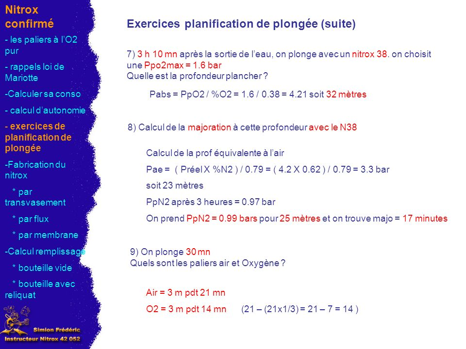 Exercices planification de plongée (suite)