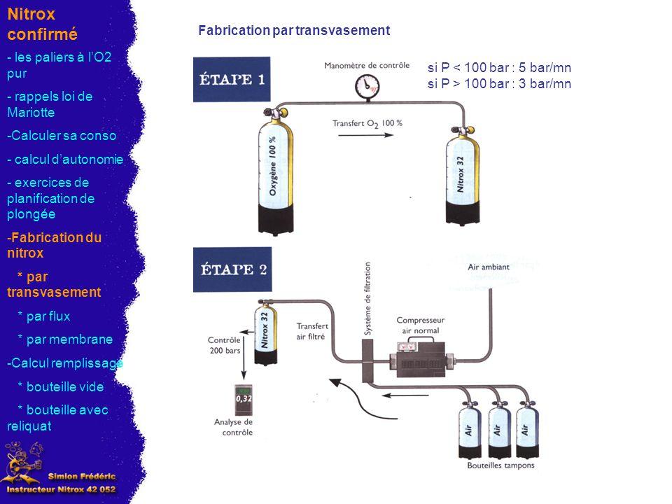 Nitrox confirmé Fabrication par transvasement - les paliers à l'O2 pur