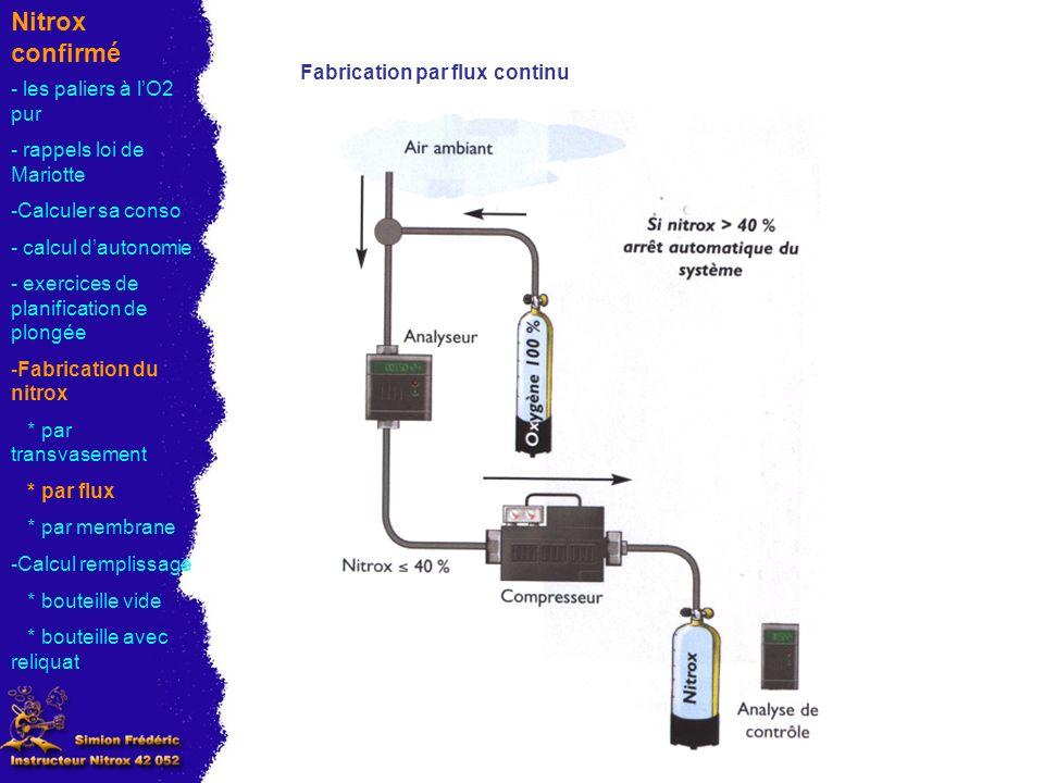 Nitrox confirmé Fabrication par flux continu - les paliers à l'O2 pur