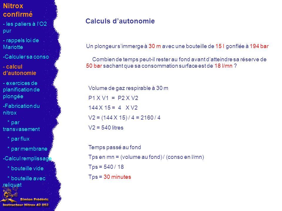 Nitrox confirmé Calculs d'autonomie - les paliers à l'O2 pur