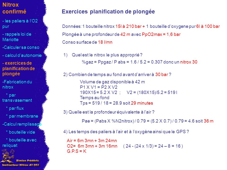 Exercices planification de plongée
