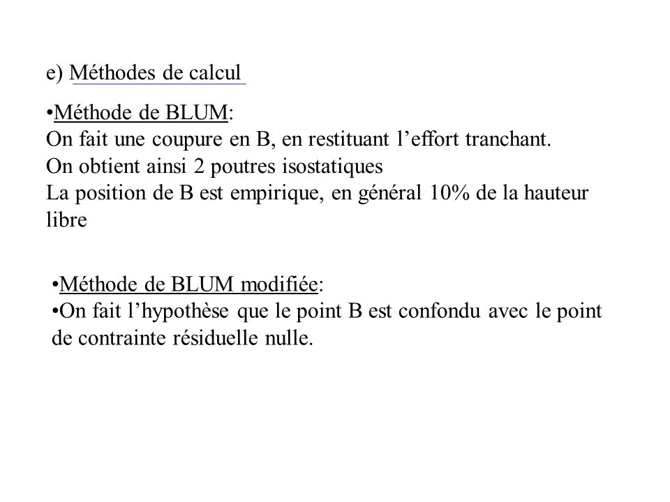 e) Méthodes de calcul Méthode de BLUM: On fait une coupure en B, en restituant l'effort tranchant.