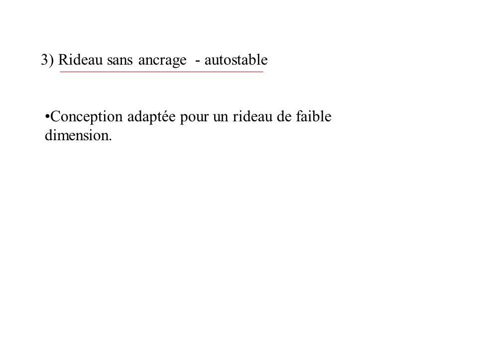 3) Rideau sans ancrage - autostable