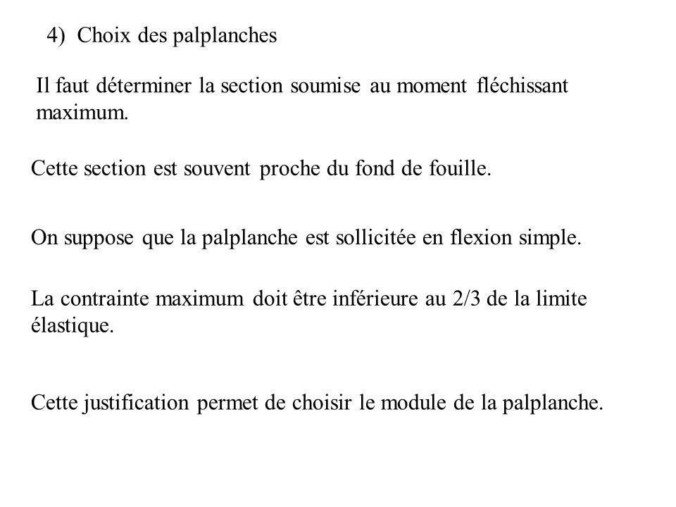 4) Choix des palplanches