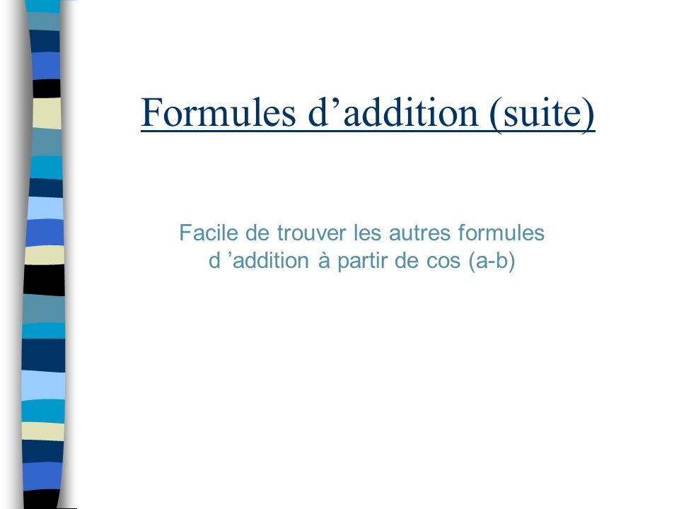 Formules d'addition (suite)