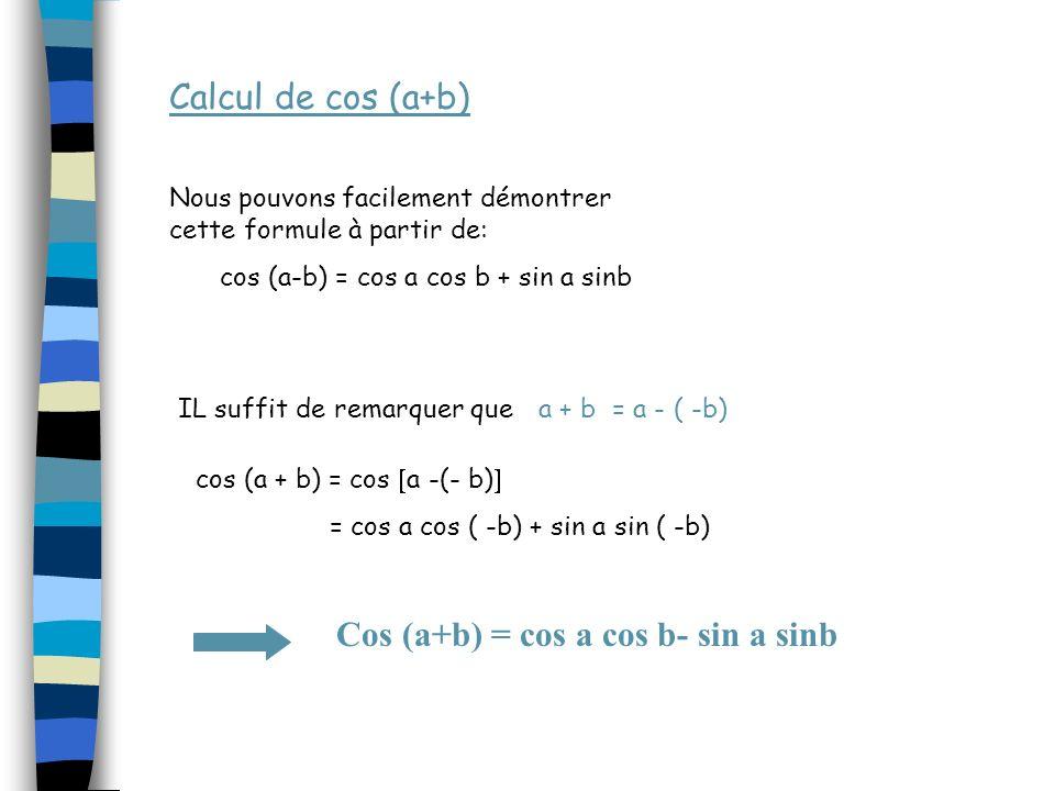 cos (a-b) = cos a cos b + sin a sinb