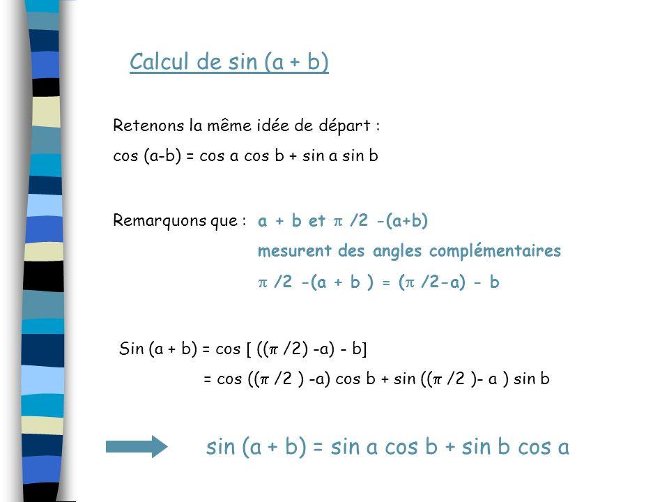 Calcul de sin (a + b) Retenons la même idée de départ :