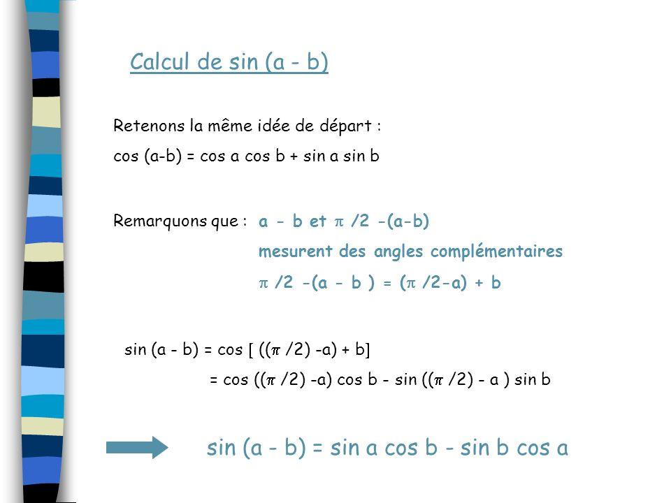 Calcul de sin (a - b) Retenons la même idée de départ :