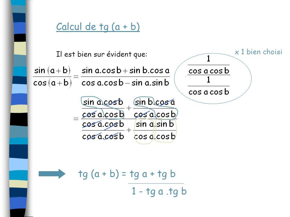 Calcul de tg (a + b) tg (a + b) = tg a + tg b 1 - tg a .tg b