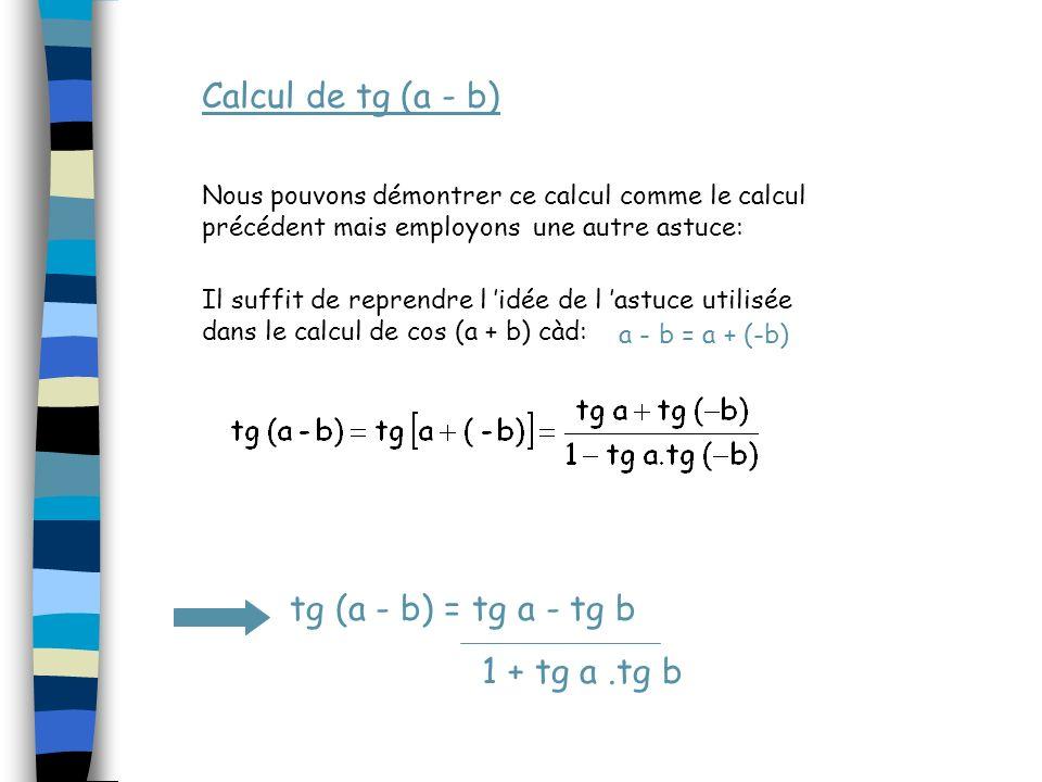 Calcul de tg (a - b) tg (a - b) = tg a - tg b 1 + tg a .tg b