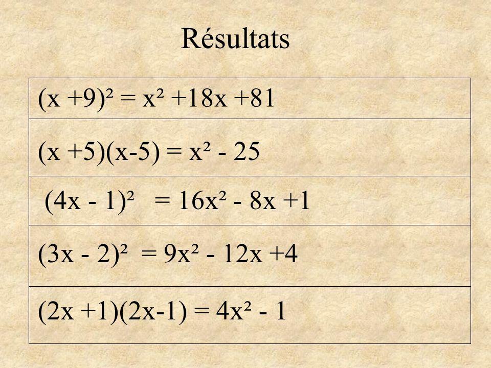 Résultats (x +9)² = x² +18x +81 (x +5)(x-5) = x² - 25
