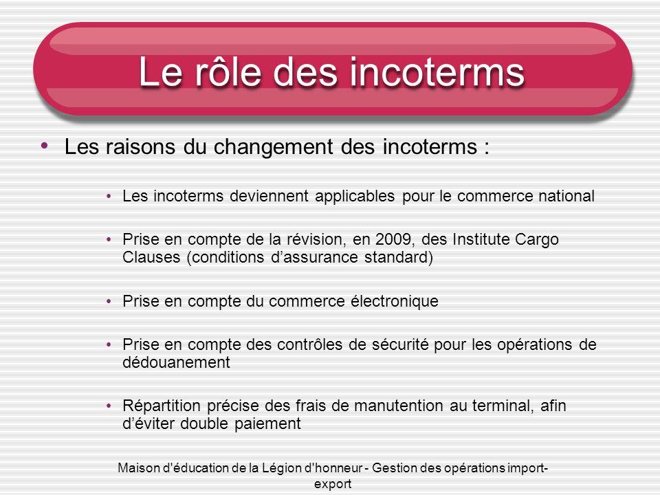 Le rôle des incoterms Les raisons du changement des incoterms :