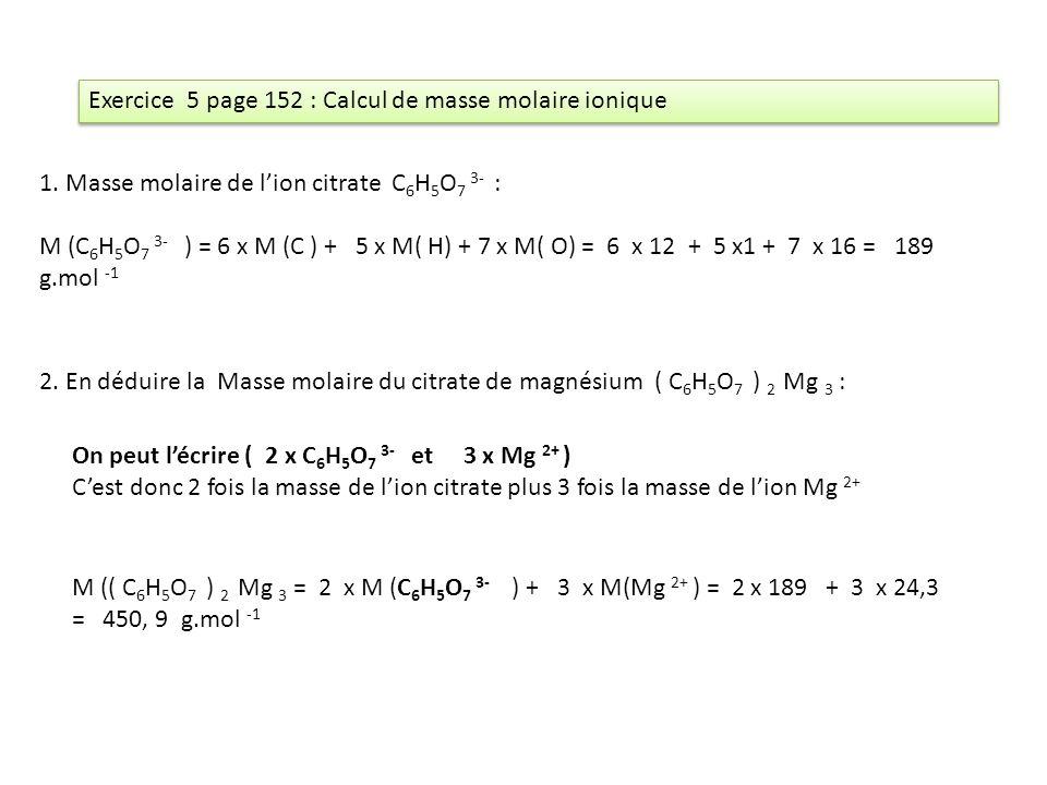 Exercice 5 page 152 : Calcul de masse molaire ionique