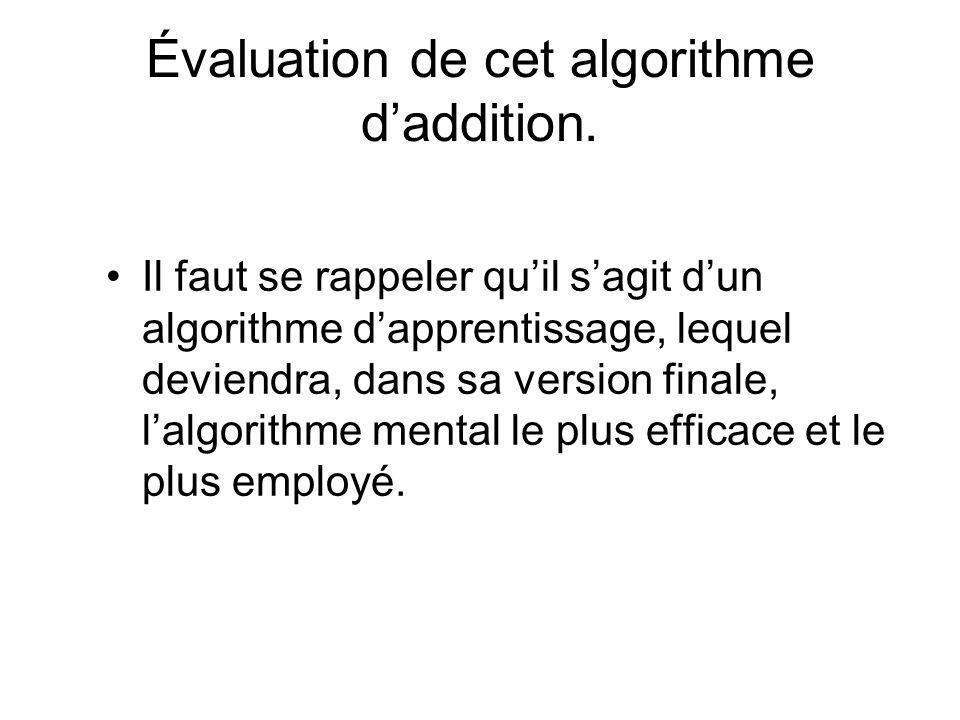 Évaluation de cet algorithme d'addition.