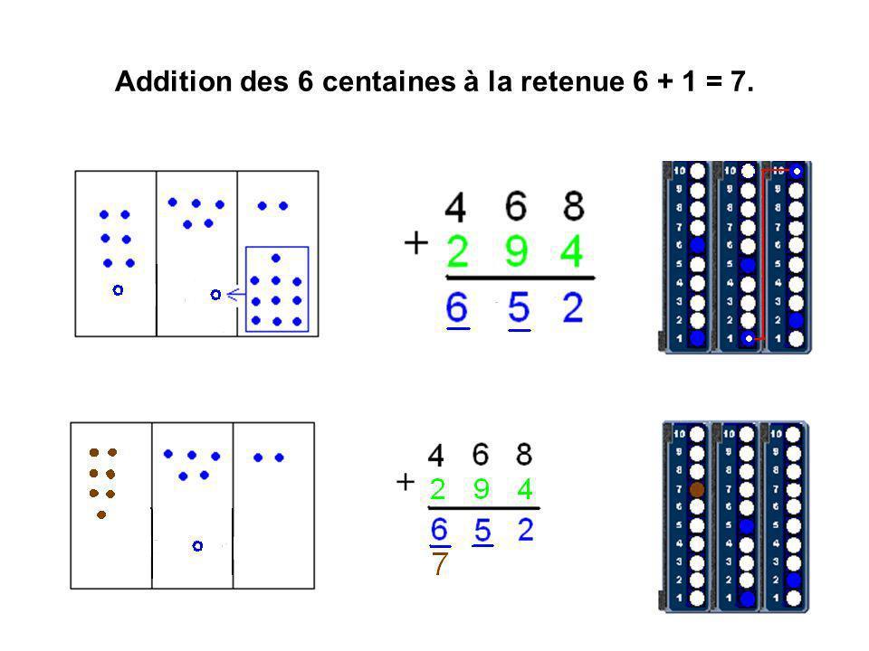 Addition des 6 centaines à la retenue 6 + 1 = 7.