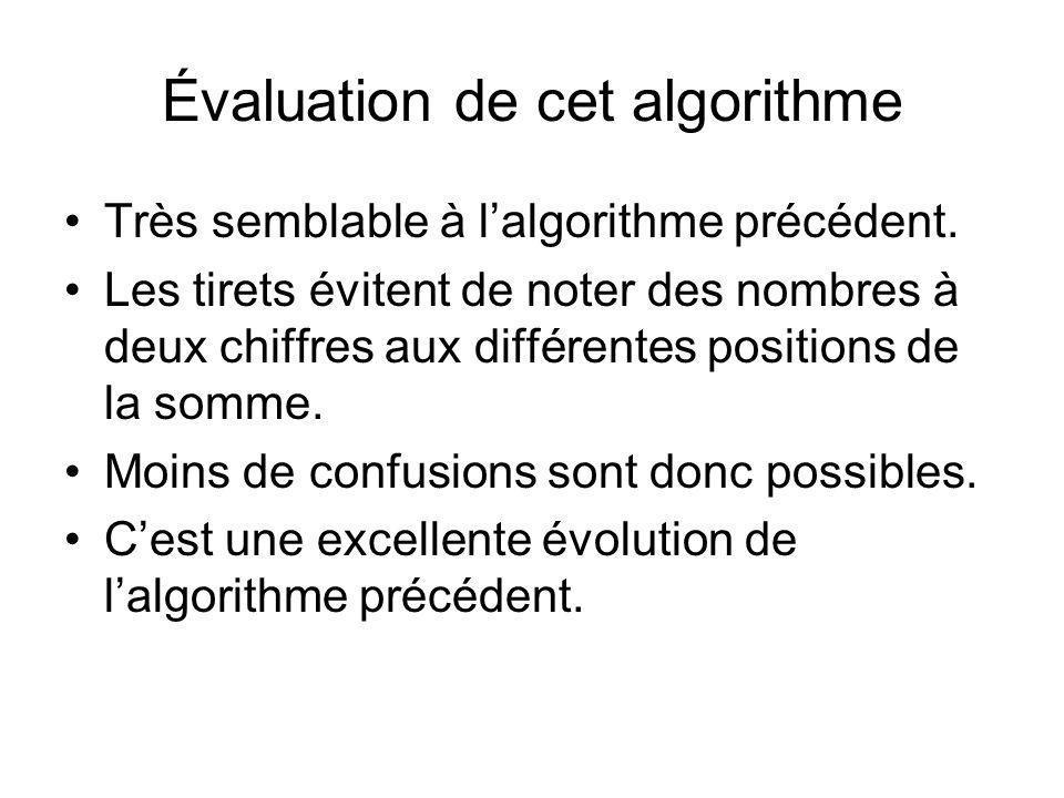 Évaluation de cet algorithme