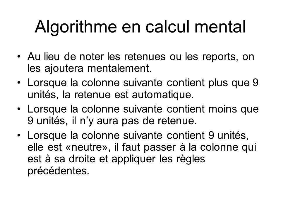 Algorithme en calcul mental