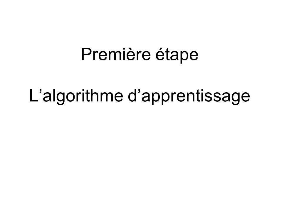 Première étape L'algorithme d'apprentissage