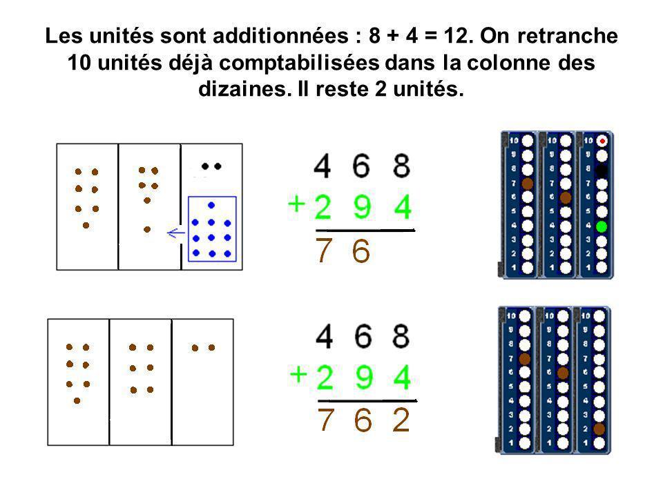Les unités sont additionnées : 8 + 4 = 12