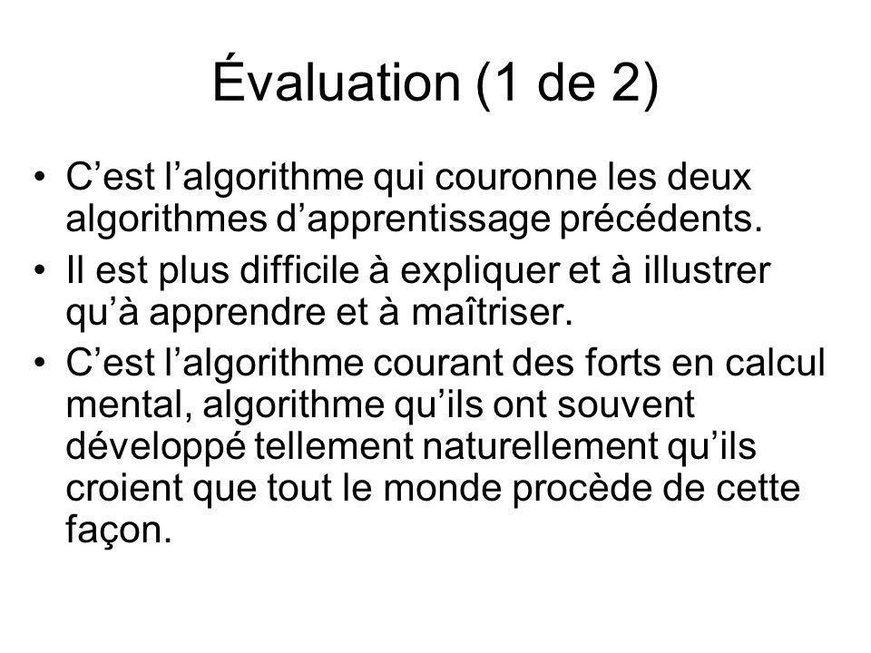 Évaluation (1 de 2) C'est l'algorithme qui couronne les deux algorithmes d'apprentissage précédents.