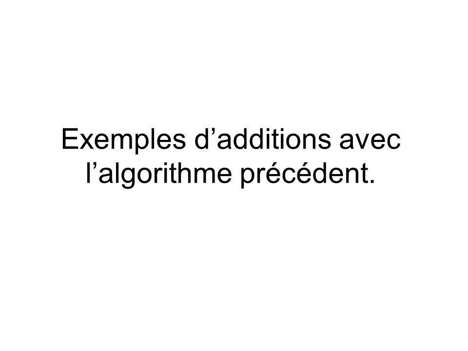 Exemples d'additions avec l'algorithme précédent.