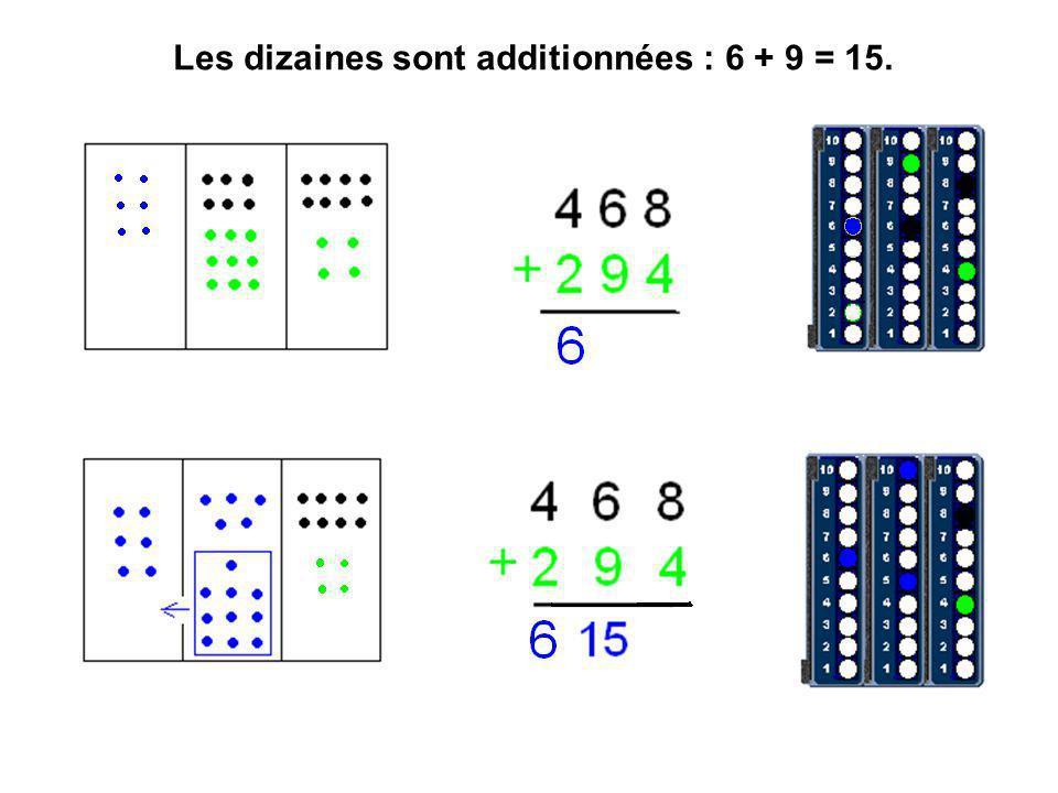 Les dizaines sont additionnées : 6 + 9 = 15.