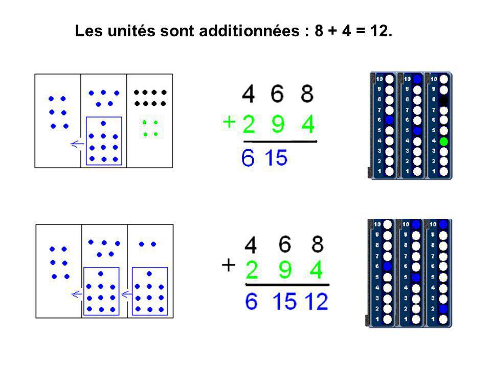 Les unités sont additionnées : 8 + 4 = 12.