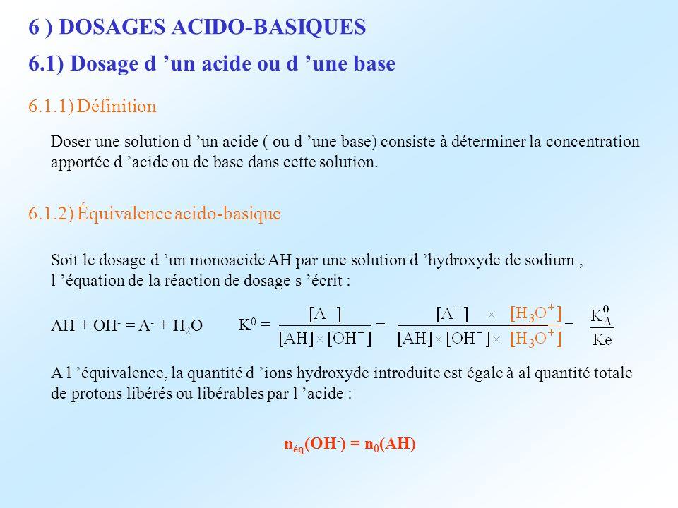 6 ) DOSAGES ACIDO-BASIQUES