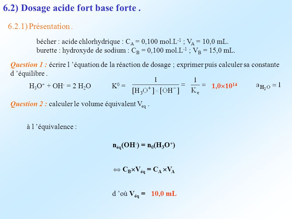 6.2) Dosage acide fort base forte .