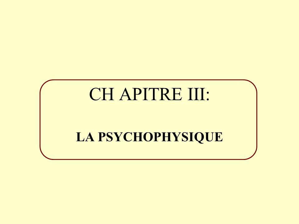 CH APITRE III: LA PSYCHOPHYSIQUE